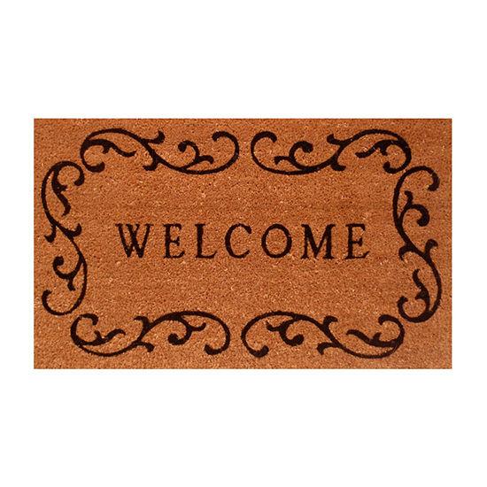 Welcome Curlicue Rectangular Outdoor Doormat