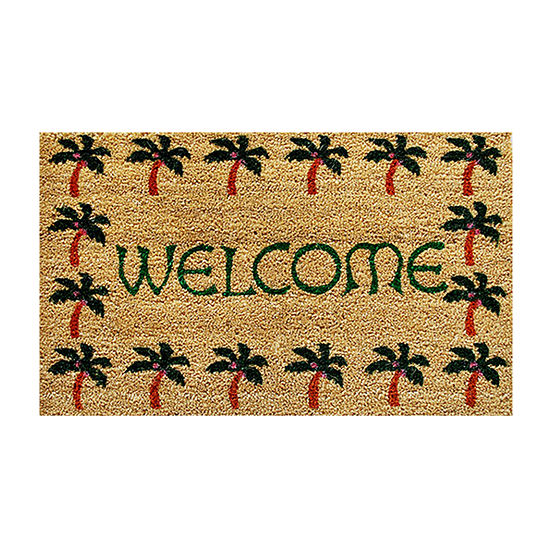 Palm Tree Border Welcome Rectangular Outdoor Doormat