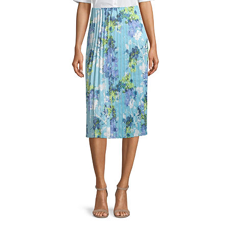 Worthington Womens High Rise Midi Pleated Skirt, Petite Medium , Blue
