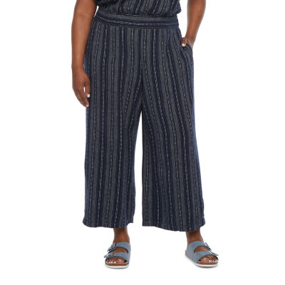 a.n.a-Plus Womens Button Hem Wide Leg Cropped Pants