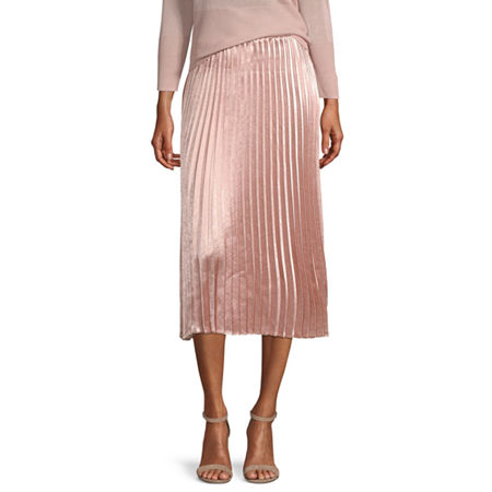 Worthington Womens Pleated Midi Skirt - Tall, Medium Tall , Pink