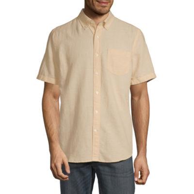 St. John's Bay Linen Blend Mens Short Sleeve Button-Down Shirt