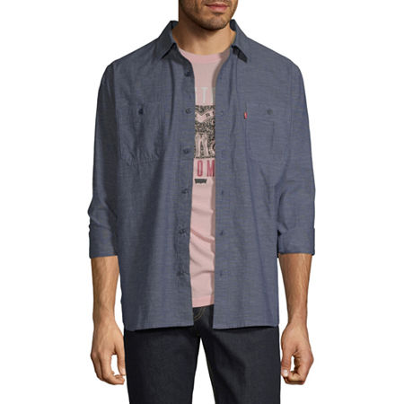 Levi's Mens Long Sleeve Button-Down Shirt, Large , Blue