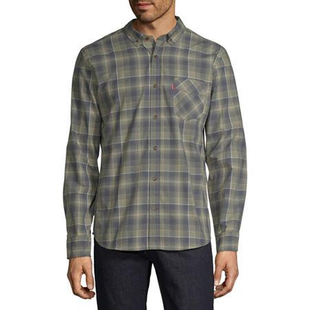Levi's Mens Long Sleeve Plaid Button-Down Shirt, Small , Green