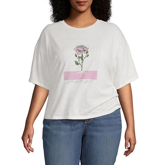Vanilla Star Juniors Plus-Womens Round Neck Short Sleeve T-Shirt