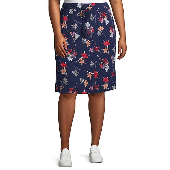 St. John's Bay Womens Midi A-Line Skirt-Plus