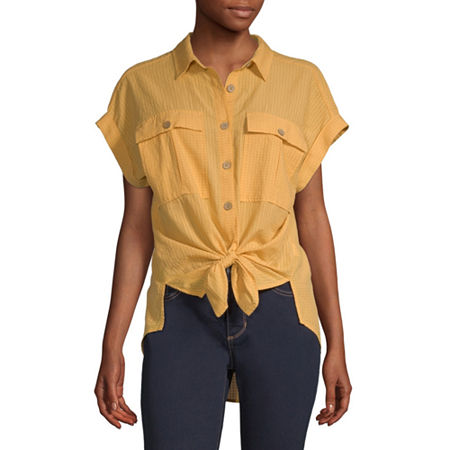 a.n.a Womens Short Sleeve Camp Shirt, X-small , Yellow - 84202350638