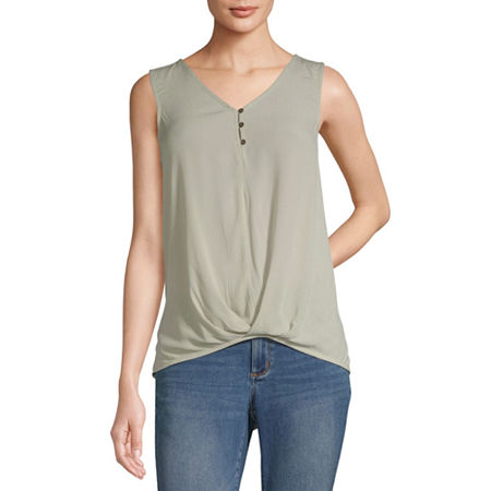 a.n.a Womens V Neck Sleeveless Tank Top, X-small , Green