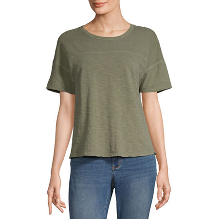 a.n.a-Womens Round Neck Short Sleeve T-Shirt, Small , Green