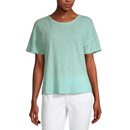 a.n.a-Womens Round Neck Short Sleeve T-Shirt, X-small , Blue