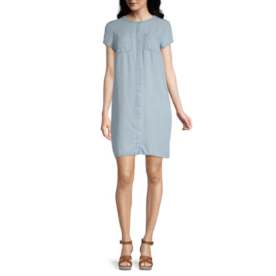 Liz Claiborne Simply Short Sleeve Midi Shirt Dress