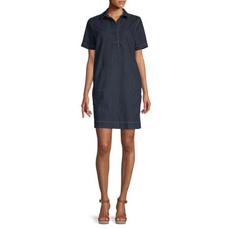 Liz Claiborne Simply Short Sleeve Shirt Dress, Xx-large , Blue