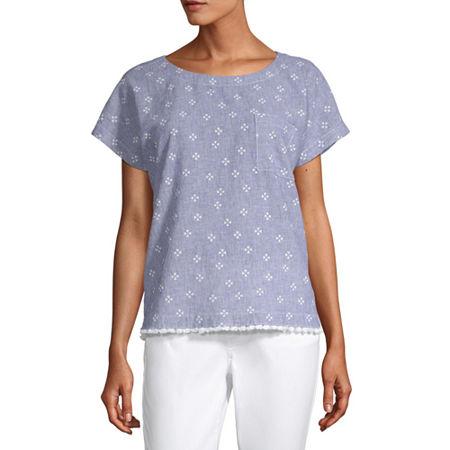 Liz Claiborne Womens Round Neck Short Sleeve Faux Linen Blouse, X-small , Blue