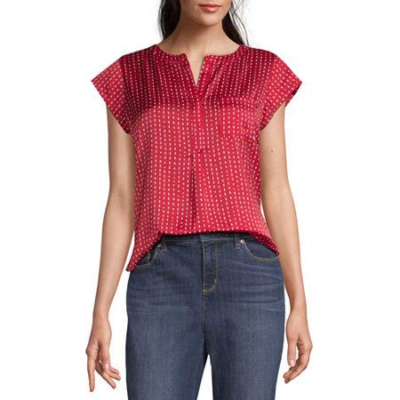 1980s Clothing, Fashion | 80s Style Clothes Liz Claiborne Womens Split Crew Neck Short Sleeve Satin Blouse Small  Red $13.49 AT vintagedancer.com