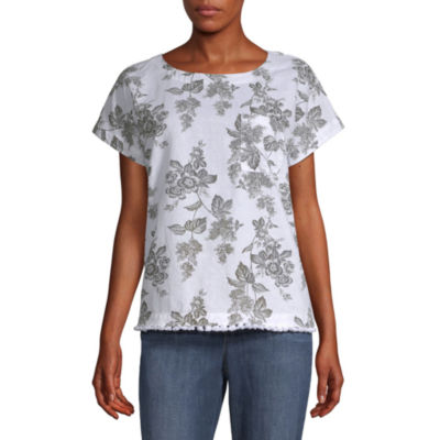 Liz Claiborne Womens Crew Neck Short Sleeve T-Shirt
