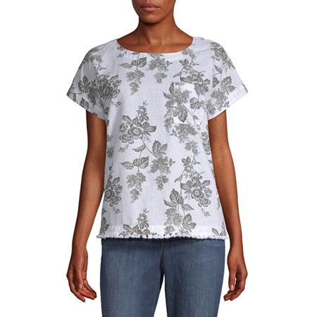 Liz Claiborne-Womens Crew Neck Short Sleeve T-Shirt, X-small , Green