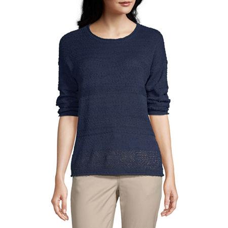 Liz Claiborne Womens Round Neck Long Sleeve Floral Pullover Sweater, Medium , Blue