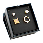 2 CT. T.W. White Cubic Zirconia Gold Ion Plated Stainless Steel Square 4 Pair Jewelry Set