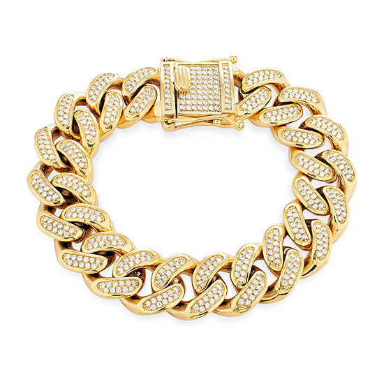 Gold Ion Plated Stainless Steel 9 Inch Solid Curb Chain Bracelet
