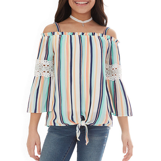 by&by girl Little & Big Girls Square Neck 3/4 Sleeve Blouse
