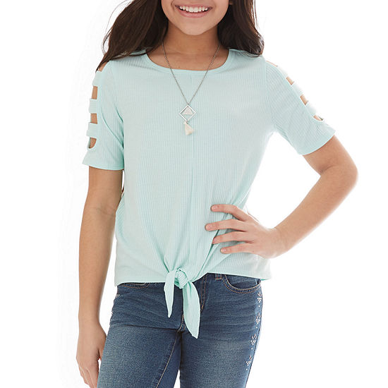 by&by girl Little & Big Girls Round Neck Short Sleeve Blouse