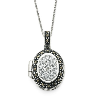 Marcasite & Cubic Zirconia Locket Pendant Sterling Silver Necklace