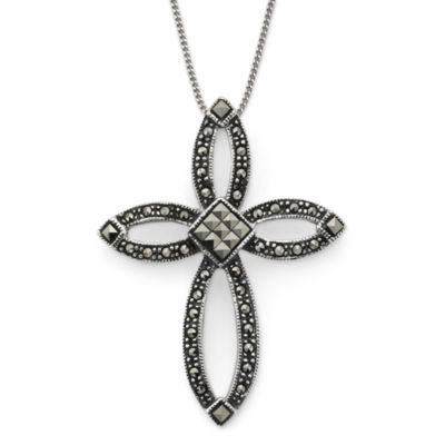 Marcasite Open Cross Pendant Sterling Silver Necklace