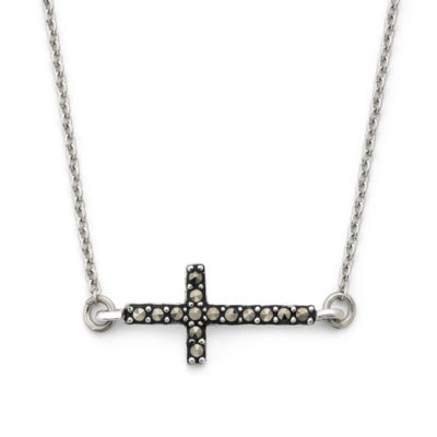 Marcasite Sideways Cross Pendant Sterling Silver Necklace