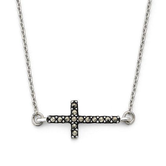 Marcasite Sideways Cross Pendant Sterling Silver Necklace