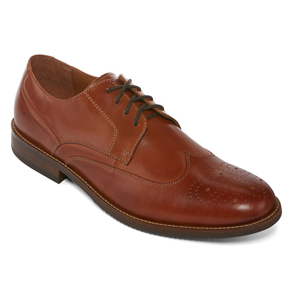 Claiborne® Bulldog Men's Leather Wing-Tip Oxfords