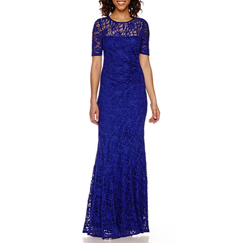 One by Eight Elbow-Sleeve Lace Formal Gown