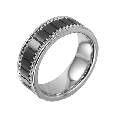 Mens Stainless & Ceramic Textured Wedding Band
