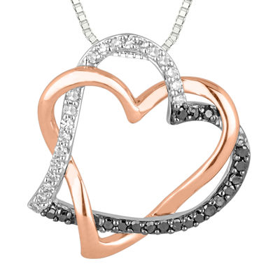 1/5 CT. T.W. White and Color-Enhanced Black Diamond Heart Pendant Necklace