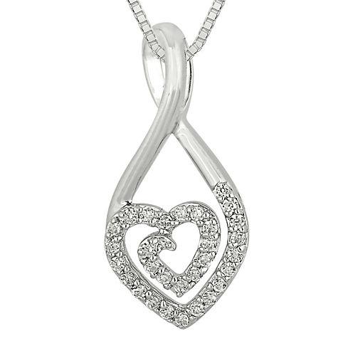 1/5 CT. T.W. Diamond Sterling Silver Heart Teardrop Pendant Necklace