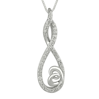 1/4 CT. T.W. Diamond Sterling Silver Infinity Heart Pendant Necklace