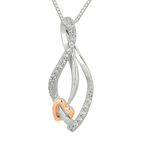 1/4 CT. T.W. Diamond Sterling Silver & 10K Rose Gold Heart Teardrop Pendant Necklace