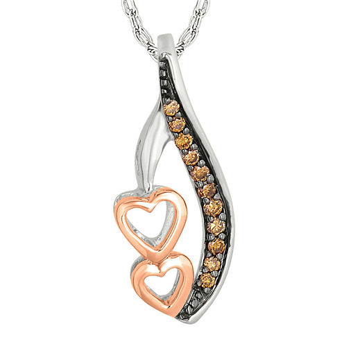 1/10 CT. T.W. Champagne Diamond Sterling Silver & 10K Rose Gold Heart Pendant