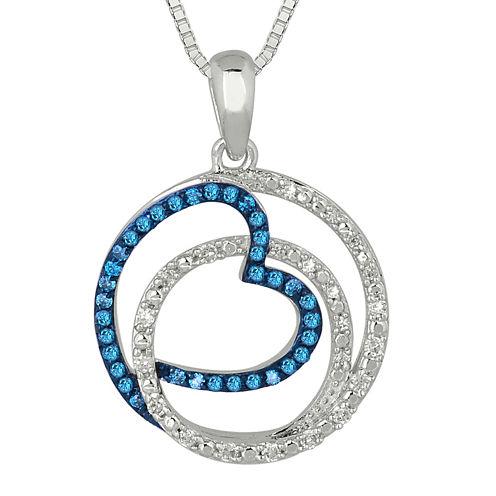 1/3 CT. T.W. White & Color-Enhanced Blue Diamond Sterling Silver Pendant Necklace