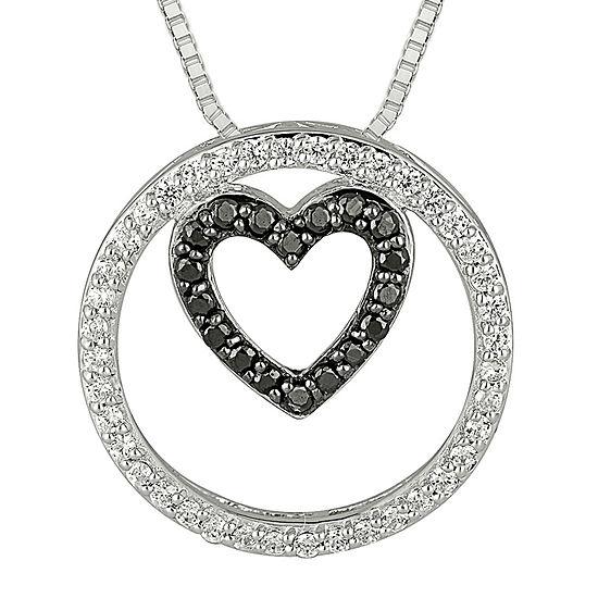 1/3 CT. T.W. White & Color-Enhanced Black Diamond Sterling Silver Pendant Necklace