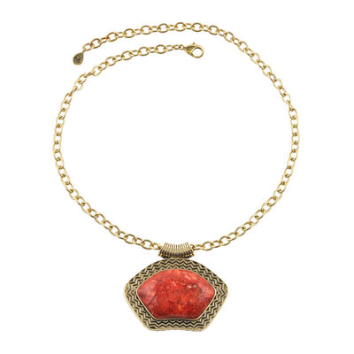 Art Smith by BARSE Red Sponge Coral Gold Over Brass Pendant Necklace