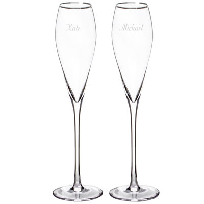 Cathy's Concepts Wedding Set of 2 Personalized Champagne Flutes