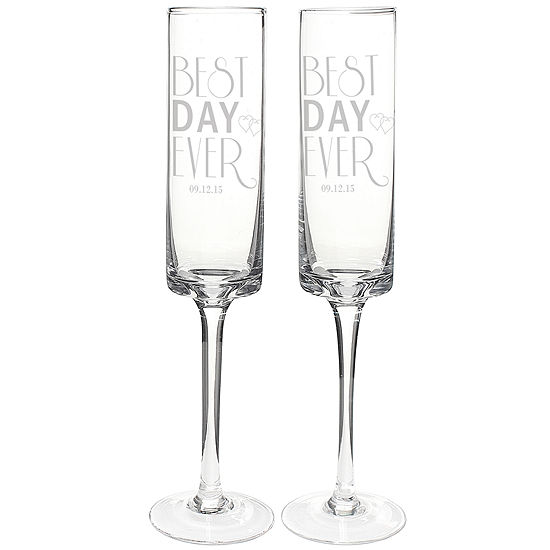 Cathy's Concepts Best Day Ever Set of 2 Personalized Contemporary Champagne Flutes