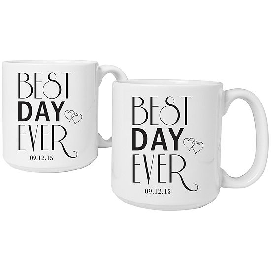 Cathy S Concepts Best Day Ever Set Of 2 Personalized Large Coffee Mugs