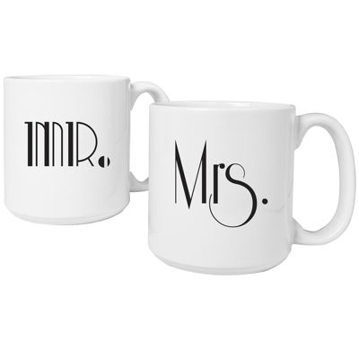 Cathy's Concepts Mr. & Mrs. Gatsby Set of 2 Large Coffee Mugs