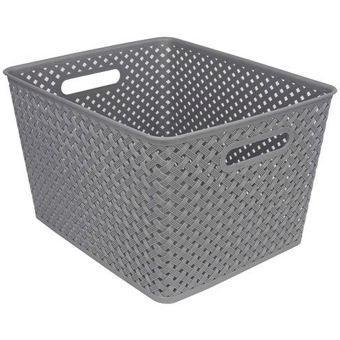 "Home Basics 16"" Rattan Plastic Storage Basket"