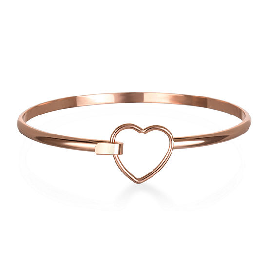 Mixit Rose Tone Heart Bangle Bracelet