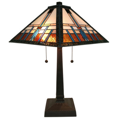 Amora Lighting AM239TL14 Tiffany Style Multicolored Mission Table Lamp 21 inches