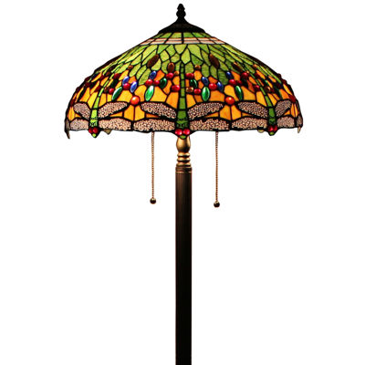 Amora Lighting AM1028FL18 Tiffany Style DragonflyTable Lamp 18 Inches
