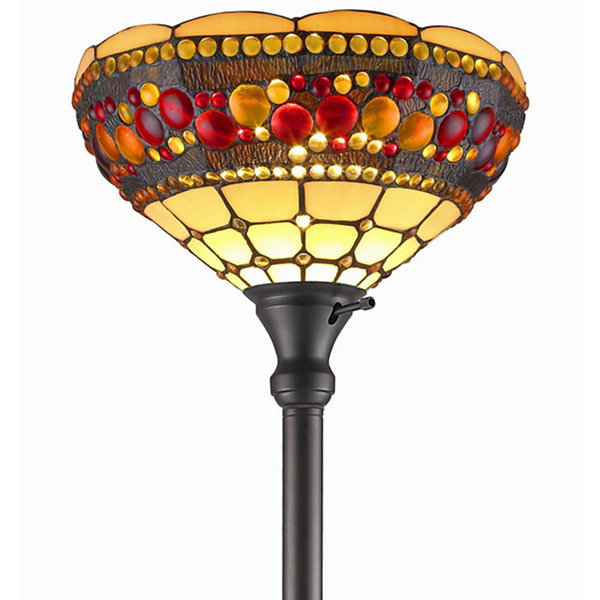 Amora Lighting AM1045FL14 Tiffany Style TorchiereJeweled Lamp 71 Inches Tall