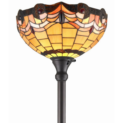 Amora Lighting AM1047FL14 Tiffany Style TorchiereLamp 71 Inches Tall
